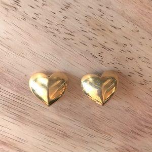 Vintage Gold Heart Clip On Earrings